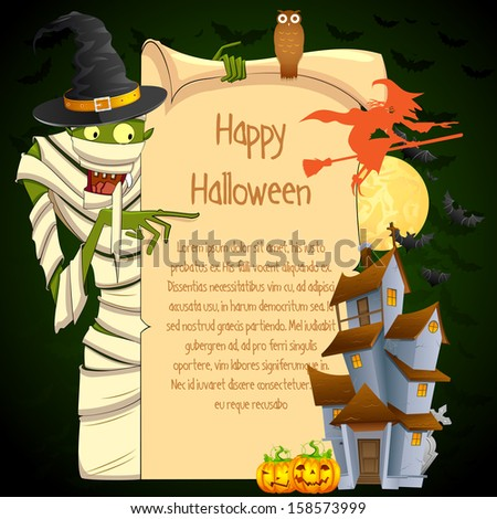 easy to edit vector illustration of Halloween Mummy pointing on blank space