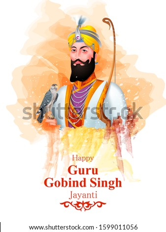 easy to edit vector illustration of Happy Guru Gobind Singh Jayanti religious festival celebration of Sikh in Punjab India