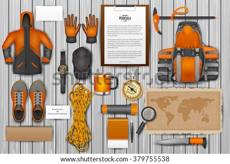 easy to edit vector illustration of identity branding mockup for mountaineering