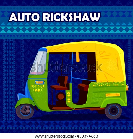easy to edit vector illustration of Indian Auto Rickshaw representing colorful India