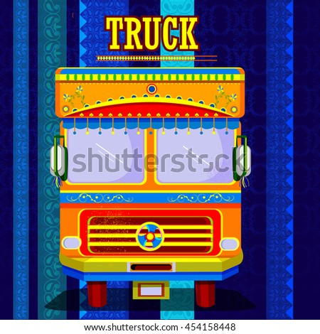 easy to edit vector illustration of Indian Truck representing colorful India