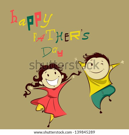 easy to edit vector illustration of kids in Happy Father's Day