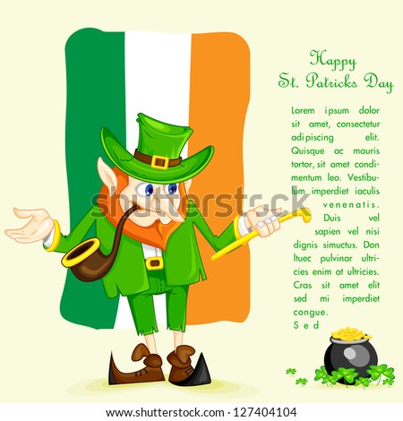 easy to edit vector illustration of Leprachun on Irish flag background