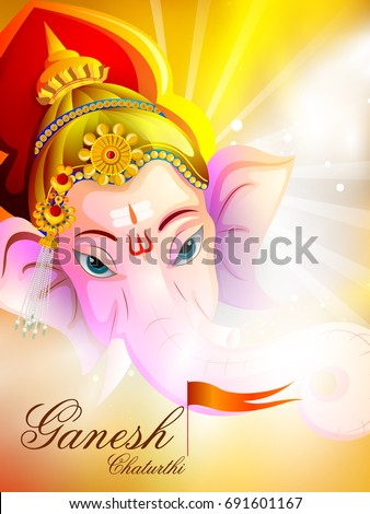 easy to edit vector illustration of Lord Ganpati on Ganesh Chaturthi background #691601167
