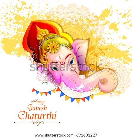 easy to edit vector illustration of Lord Ganpati on Ganesh Chaturthi background #691601227