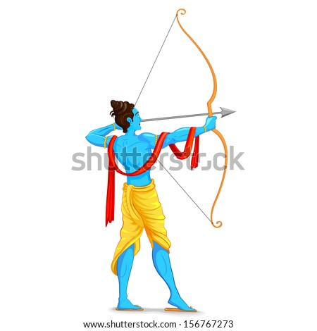 easy to edit vector illustration of Lord Rama with bow and arrow