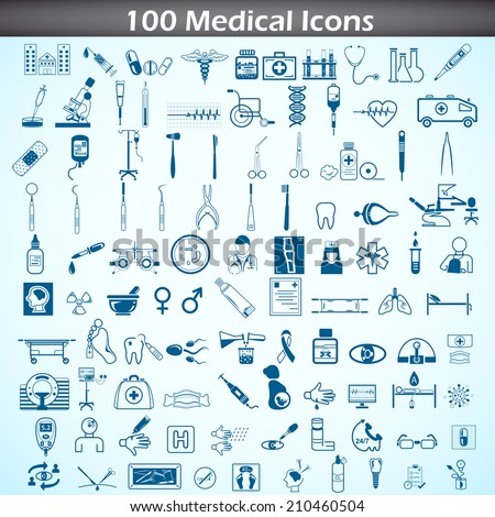 easy to edit vector illustration of medical icon set