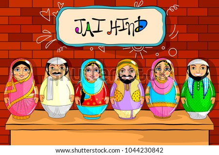 28d992ecd6 easy to edit vector illustration of Nested Doll Indian couple representing diverse  culture from different States