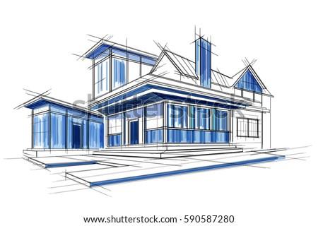 easy to edit vector illustration of sketch of exterior building draft blueprint design