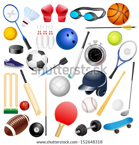 easy to edit vector illustration of sports equipments