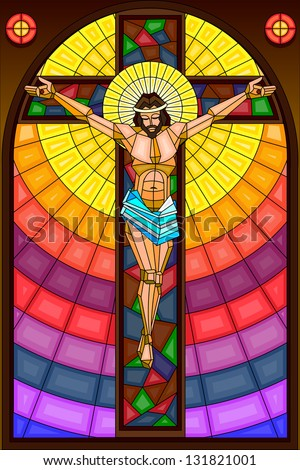 easy to edit vector illustration of stained glass painting of Jesus Christ Crucifixion
