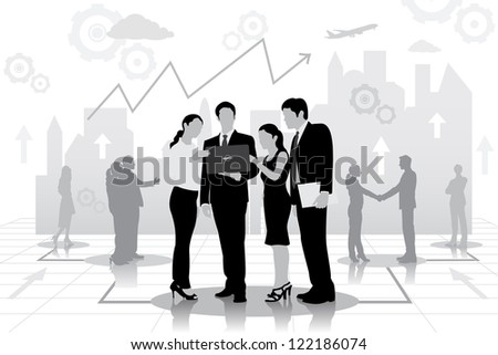 easy to edit vector illustration of successful businessteam planning work