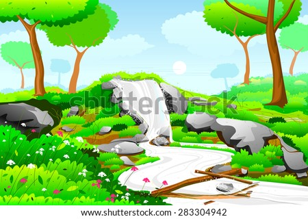 easy to edit vector illustration of Waterfall in nature landscape