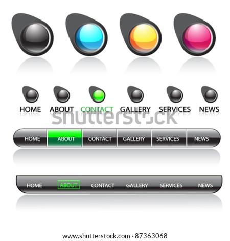 Easy to edit vector web navigation bar