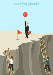 Easy way to success flat 3d web isometric infographic business concept vector template. Businessman fly up away on balloon while others continue climbing on ladders. Creative people collection.