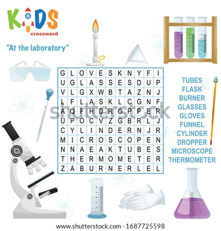 Easy word search crossword puzzle 'At the laboratory', for children in elementary and middle school. Fun way to practice language comprehension and expand vocabulary. Includes answers.