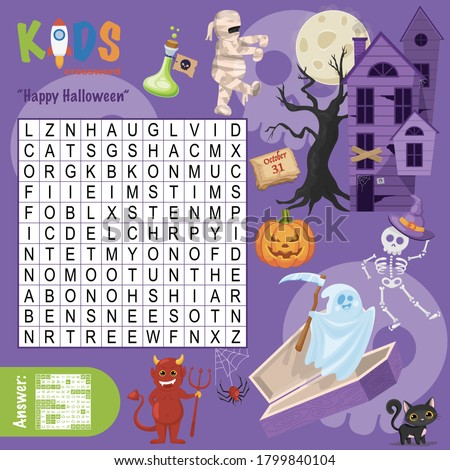 "Easy word search crossword puzzle ""Happy Halloween"", for children in elementary and middle school. Fun way to practice language comprehension and expand vocabulary. Includes answers."