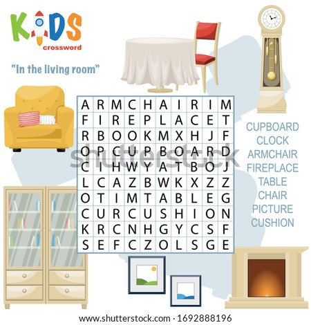 Easy word search crossword puzzle 'In the living room', for children in elementary and middle school. Fun way to practice language comprehension and expand vocabulary. Includes answers.