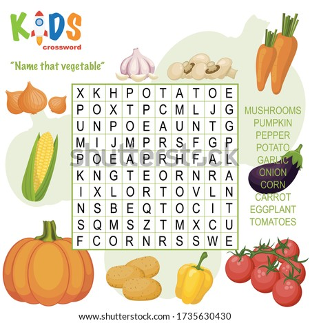 "Easy word search crossword puzzle ""Name that vegetable"", for children in elementary and middle school. Fun way to practice language comprehension and expand vocabulary. Includes answers."