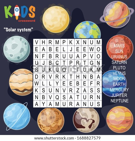 Easy word search crossword puzzle 'Solar system', for children in elementary and middle school. Fun way to practice language comprehension and expand vocabulary. Includes answers.