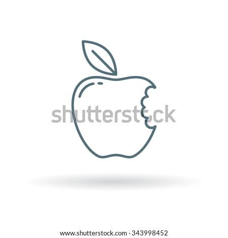 Eat apple icon. Fruit bite symbol. Thin line sign on white background. Vector illustration.