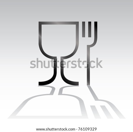 eat drink symbol with shadow - illustration