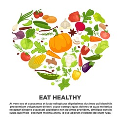 Eat healthy commercial poster with tasty vegetables inside big heart. Banner to encourage people to have proper organic nutrition.