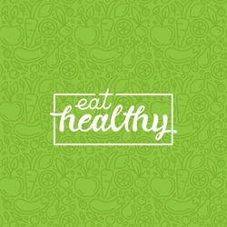 Eat healthy - motivational poster or banner with hand-lettering phrase eat healthy on green background with trendy linear icons and signs of fruits and vegetables - vector illustration