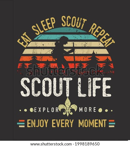 Eat Sleep Scout Repeat Vintage Scouting Scout Life design vector illustration for use in design and print poster canvas Stock photo ©