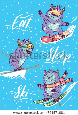 eat  sleep  ski winter card