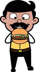 Eating Burger - Indian Cartoon Man Father Vector Illustration