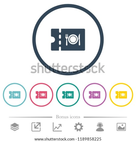 Eating discount coupon flat color icons in round outlines. 6 bonus icons included. Stock photo ©