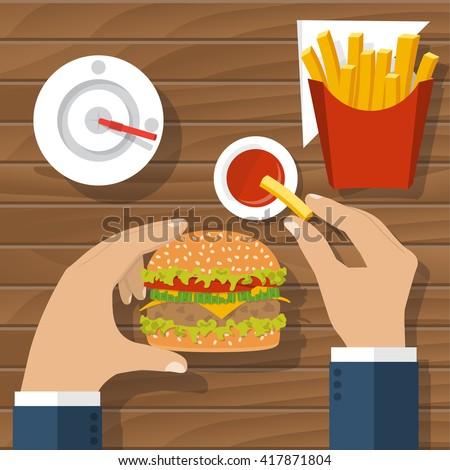 Eating hamburger. Eating fast food. Man at table eating fast food, burger, fries, drink cola, tomato sauce. Hamburger hand. Concept of unhealthy diet. Vector flat design. Holding hamburger. Nutrition