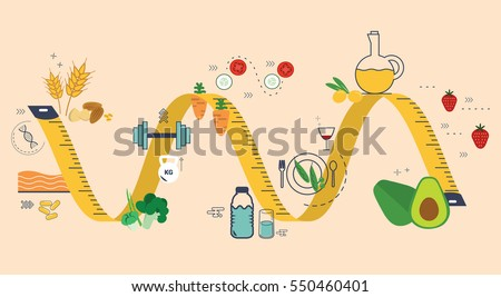 Eating healthy concept with flat icons vector illustration design for health website, exercise issues, banner, heading.