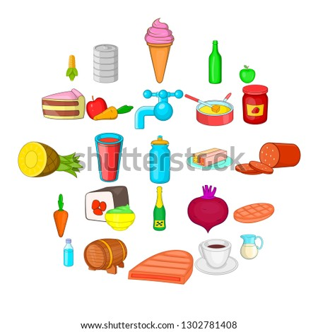 Stock Photo Eating icons set. Cartoon set of 25 eating vector icons for web isolated on white background