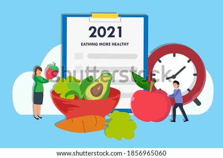 Eating More Healthy resolution vector concept: Couple preparing fresh fruits and vegetables for Eating More Healthy resolution on 2021 new year ストックフォト ©