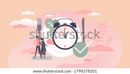Eating time as daily food balance and routine clock tiny persons concept. Hunger in constant period of day as healthy habit for digestive system vector illustration. Symbolic watch with lunch plate. Сток-фото ©