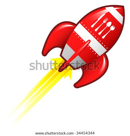 Eating utensils icon on red retro rocket ship illustration