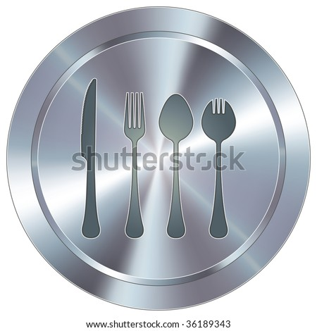 Eating utensils icon on round stainless steel modern industrial button