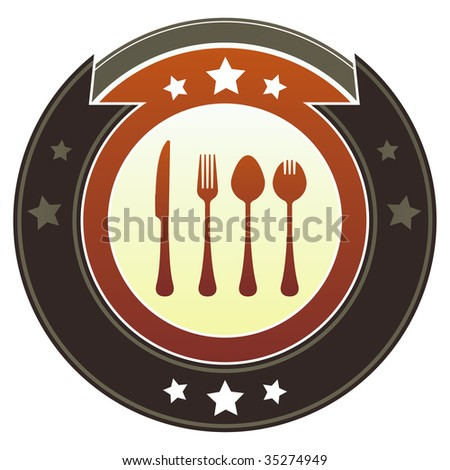 Eating utensils or dining icon on round red and brown imperial vector button with star accents suitable for use on website, in print and promotional materials, and for advertising.