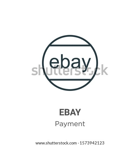 Ebay outline vector icon. Thin line black ebay icon, flat vector simple element illustration from editable payment concept isolated on white background