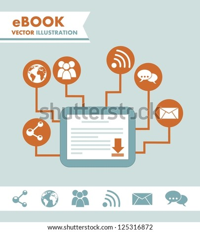 ebook download over blue background. vector illustration