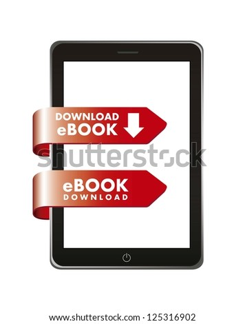 ebook download over white background. vector illustration - stock vector