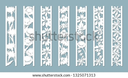 Echinacea, chamomile, schefler, noble hepatica, zephyrantes, stokesia. Panels with floral pattern. Flowers and leaves. Laser cut. Set of bookmarks templates. Image for laser cutting, plotter cutting