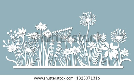 Echinacea, chamomile, schefler, noble hepatica, zephyrantes, stokesia. Vector illustration. paper flower, stickers. Laser cut. template for laser cutting and Plotter. Vector illustration. Pat