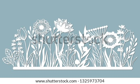 Echinacea, chamomile, schefler, noble hepatica, zephyrantes, stokesia. Vector illustration. Set of paper flower, stickers. Laser cut. Set template for laser cutting and Plotter. Vector illustration.