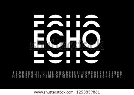 Echo style modern font, alphabet letters and numbers vector illustration