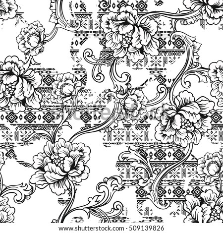stock-vector-eclectic-fabric-seamless-pattern-ethnic-background-with-baroque-ornament-vector-illustration