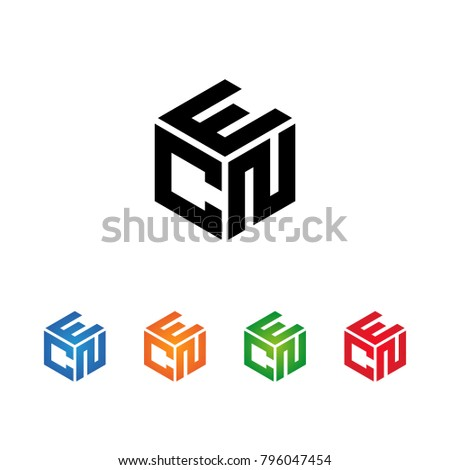 ECN,ENC,CEN,CNE,NEC,NCE letters Logo Initial Template.Modern Style. Hexagon concept.Black,Blue,Orange,Green,Red color on white background