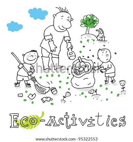 Eco activities; ecology and environment protection, vector drawing ; isolated on background. - stock vector